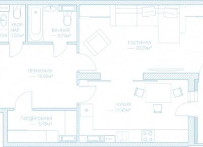 Продажа 1-комн. квартиры в новостройке, 58.9 м², этаж 10 из 10