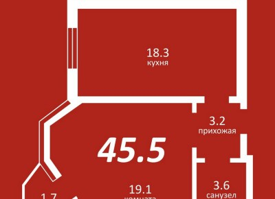 Продажа 1-комн. квартиры, 45.5 м², этаж 3 из 5